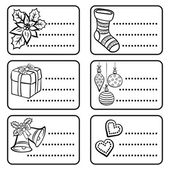 Black and white monochrome winter holidays Christmas time gift label sticker set with winter Christmas related illustrations on white background — Stock Vector
