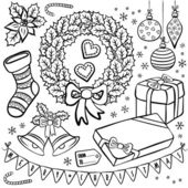 Black and white typical traditional Christmas and winter holidays related elements illustration set isolated on white background — Stock Vector