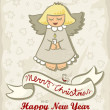 Singing little angel with little bird vintage colors winter holidays Christmas New Year card with wishes in English — Stock Vector