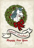 Happy horse chinese zodiac sign in Christmas wreath green holly leaves and red berries with big red bow vintage colors winter holidays Christmas New Year card with wishes in English — Stock Vector