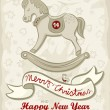 Stock Vector: Little horse chinese zodiac sign as vintage child's toy vintage colors winter holidays Christmas New Year card with wishes in English
