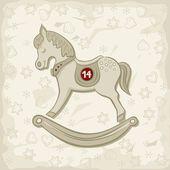 Kleines Pferd Chinesisches Sternzeichen als Jahrgang Kind Spielzeug Vintage Farben winter Urlaub Weihnachten Neujahr Herzstück Abbildung auf hellen gemusterten Hintergrund — Stockvektor