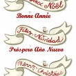 English French Spanish merry christmas and happy new year winter holidays wishes written on a ribbon with little beige red bird isolated on white background greetings set — Stock Vector #36393131