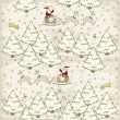 Santa Claus and reindeer sleigh in white snowy forrest winter holidays christmas in light vintage colors seasonal seamless pattern — Image vectorielle