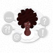 What to do portrait of thinking young attractive dark hair african american type woman on round label on white dotted background — Stock Vector