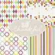 Stock Vector: So thankful colorful argyle diamond circles dots stripes geometric seamless pattern set with oval frame on white background