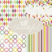 So thankful colorful argyle diamond circles dots stripes geometric seamless pattern set with oval frame on white background — Stock Vector