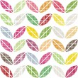 White scratched little colorful leaves in rows geometric seamless pattern on white background — Stock Vector