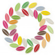 Little colorful leaves in round wreath geometric nature elements illustration on white background — Stock Vector