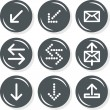 Arrows mail mailbox internet database web connection gray monochrome round button set isolated on white background — Stock Vector
