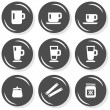 Mug sugar honey coffee time cafe drink related button set isolated on white background — Vector de stock