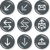 Arrows mail mailbox internet database web connection gray monochrome round button set isolated on white background — Stockvektor