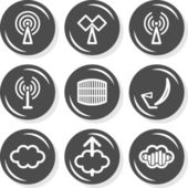 Web wave data connection cloud internet database web connection gray monochrome round button set isolated on white background — Stock Vector