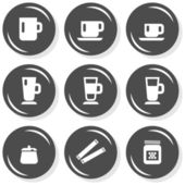 Mug sugar honey coffee time cafe drink related button set isolated on white background — Stock Vector