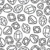 Monochrome beautiful shining crystals diamonds precious stones seamless pattern on white background — Stock Vector