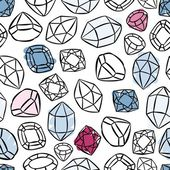 Colorful beautiful shining crystals diamonds precious stones seamless pattern on white background — Vetor de Stock