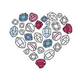 Heart shaped colorful beautiful shining crystals diamonds precious stones beauty fashion illustration isolated elements on white background — Stock Vector