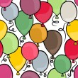 Flying colorful balloons party time seamless pattern on white background — Stock Vector