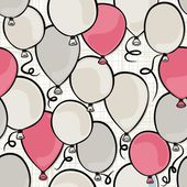 Flying colorful pink and gray balloons party time seamless pattern on white background — Stock Vector