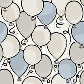 Flying colorful blue and gray balloons party time seamless pattern on white background — Stock Vector