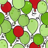 Flying colorful green and red balloons party time seamless pattern on white background — Stock Vector
