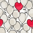 Flying colorful gray and red round and heart shaped balloons party time seamless pattern on white background — Cтоковый вектор