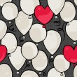 Flying colorful gray and red round and heart shaped balloons party time seamless pattern on dark background — 图库矢量图片 #37572381