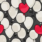 Flying colorful gray and red round and heart shaped balloons party time seamless pattern on dark background — 图库矢量图片