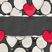 Flying colorful gray and red round and heart shaped balloons party time seamless pattern on dark background with blank horizontal torn piece of paper with place for your text — Stock Vector