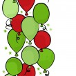 Flying colorful green and red balloons party time seamless vertical border on white background — Stock Vector #37663159