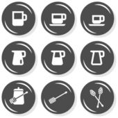 Milk jug sugar coffee time cafe drink related button set isolated on white background — Stock Vector