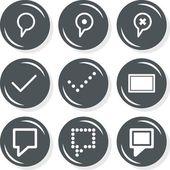Destination description mark internet database web connection gray monochrome round button set isolated on white background — Stock Vector
