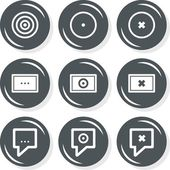 Target destination description internet database web connection gray monochrome round button set isolated on white background — Stock Vector