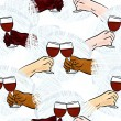 Many different human hands with glasses of wine making toast colorful party holiday seamless pattern on white background — Stock Vector