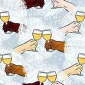 Many different human hands with glasses of champagne making toast colorful happy new year party holiday seamless pattern on blue background — Stock Vector