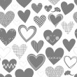 Beautiful monochrome different shaped hearts on white background Valentines Day lovely romantic marriage engagement seamless pattern — Stockvector  #38550375