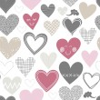 Beautiful colorful different shaped hearts on white background Valentines Day lovely romantic marriage engagement seamless pattern — Vetorial Stock