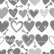 Beautiful monochrome different shaped hearts in rows and keys in mess on white background Valentines Day lovely romantic marriage engagement seamless pattern — Stockvector  #38550427