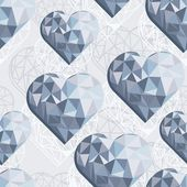 Messy hearts blue crystal diamond shaped elements on light gray background love romantic valentines day seamless pattern — Stock Vector