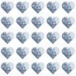 Blue crystal diamond hearts in rows regular elements on white background love romantic valentines day seamless pattern — Stock Vector #39156615