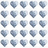 Blue crystal diamond hearts in rows regular elements on white background love romantic valentines day seamless pattern — Stock Vector