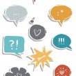 Vettoriale Stock : Colorful hand drawn speech bubbles with signs isolated on white background love communication set