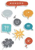 Colorful hand drawn speech bubbles with signs isolated on white background love communication set — Stock Vector