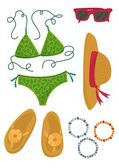 Bikini hut sunglasses bracelets flip flops summer outfit illustration elements set isolated on white background — Stock Vector
