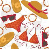 Bikini hut sunglasses bracelets flip flops summer outfit illustration elements on white background seamless pattern — Vetorial Stock