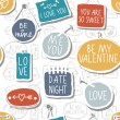 colorful hand drawn different shaped label set isolated on white background with love messages love romantic wedding valentines day seamless pattern — Stock Vector