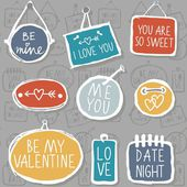 Colorful hand drawn different shaped label set isolated on gray background with love messages love romantic wedding valentines day seamless pattern — Stock Vector