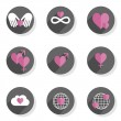 Love feelings hands heart gender world Valentine's Day celebration round gray flat modern icon set isolated on white background — Stock Vector