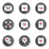 Love feelings calendar letter message heart Valentine's Day celebration round gray flat modern icon set isolated on white background — Stock Vector