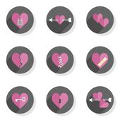 Love feelings heart Valentine's Day celebration round gray flat modern icon set isolated on white background — Stock Vector